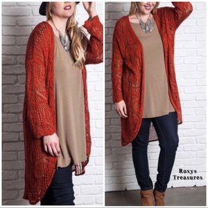 Gorgeous Umgee Crochet Rust Knit Cardigan